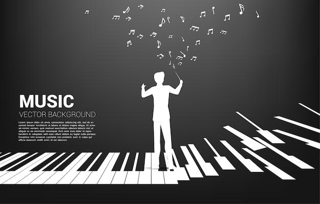 Silueta, de, conductor, posición, con, piano
