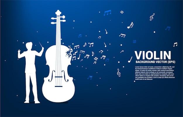 Silueta de conductor con violín con flujo de baile de nota de melodía de música.