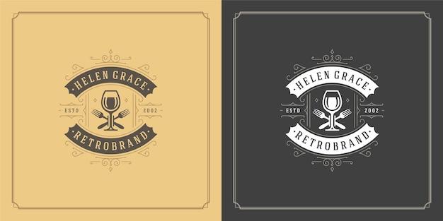 Silueta de copas de copa de vino de ilustración de logotipo de restaurante, buena para el menú del restaurante y la insignia de la cafetería.