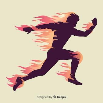 Silueta de corredor en llamas de diseño plano.