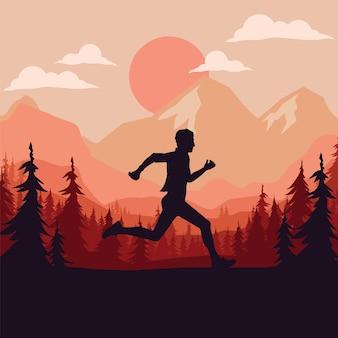 Silueta de corredor de maratón.