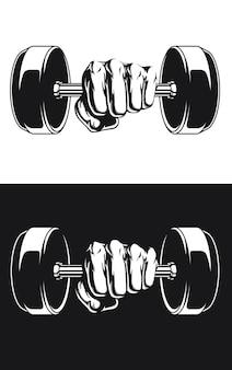 Silueta culturista fitness mano peso pesas