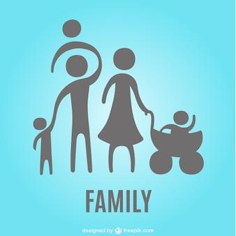 Silueta de familia con niños