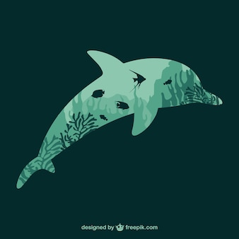 Silueta de delfín con plantas marinas