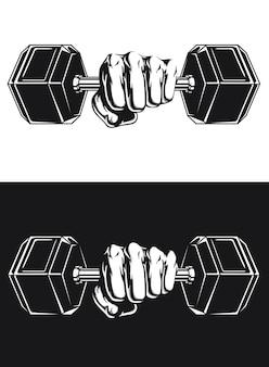 Silueta deporte atleta ejercicio poder mancuernas