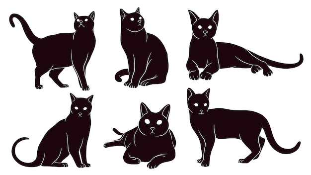 Silueta dibujada a mano de gatos