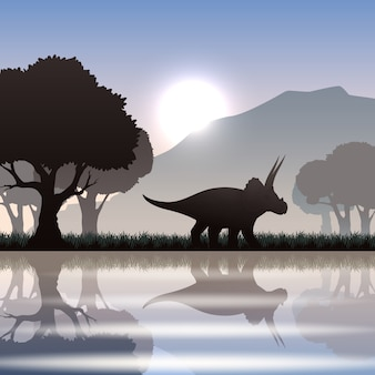 Silueta de dinosaurio triceratops en un paisaje escénico con lago de montaña y árboles gigantes