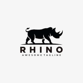 Silueta de diseño de logotipo abstracto de rinoceronte