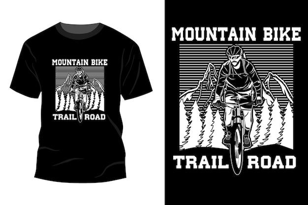 Silueta de diseño de maqueta de camiseta de camino de bicicleta de montaña