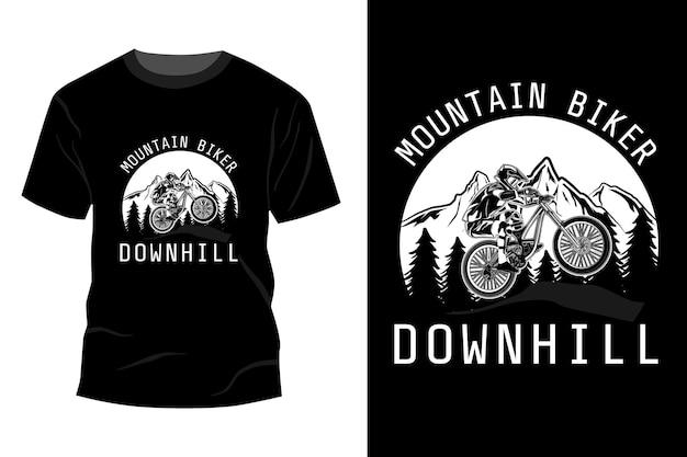 Silueta de diseño de maqueta de camiseta cuesta abajo de ciclista de montaña