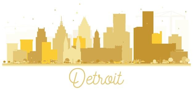 Silueta dorada del horizonte de la ciudad de detroit, estados unidos. concepto plano simple para presentación turística, pancarta, cartel o sitio web. paisaje urbano de detroit con hitos. ilustración de vector.