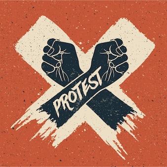 La silueta de dos brazos cruzados en la pintura blanca del cepillo cruzado tiene gusto con el subtítulo de la protesta con textura del grunge en fondo rojo.