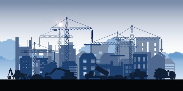 Silueta de edificios en construcción. proceso de construcción del área de dormitorio del edificio grande. en construcción proceso de trabajo de construcción con máquinas de construcción.