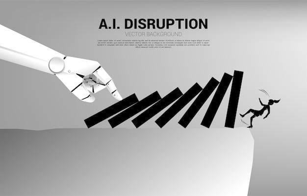 Silueta de empresaria cayendo del acantilado por efecto dominó de la mano del robot. concepto de crisis por disrupción empresarial
