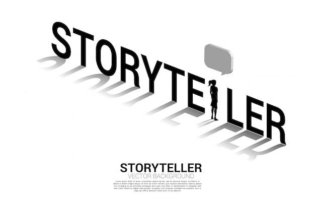 Silueta de empresaria con discurso de burbuja en la redacción del narrador. concepto de comunicación y cuentacuentos.