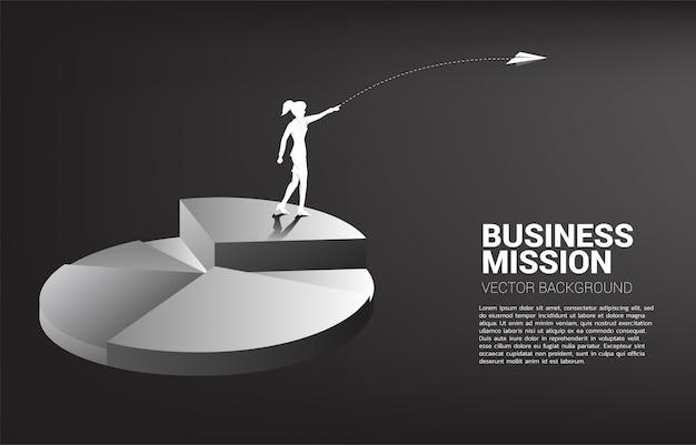 Silueta de empresaria lanzar avión de origami desde la parte superior de gráfico circular