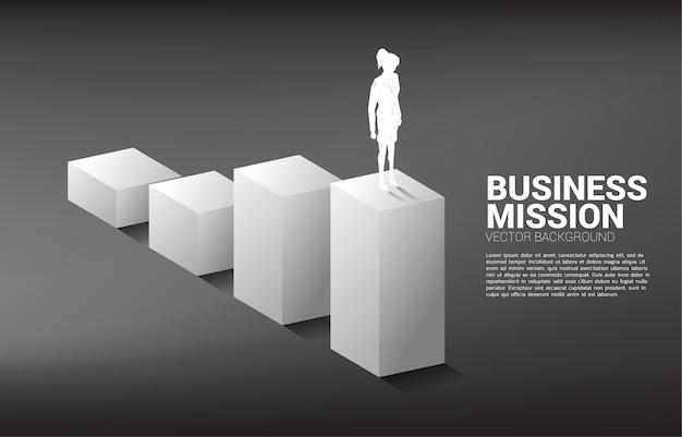 Silueta de empresaria de pie en gráfico de barras. concepto de personas dispuestas a subir de nivel de carrera y negocios.