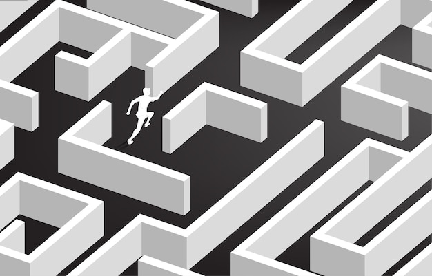Silueta de empresario corriendo en el centro del laberinto. concepto de negocio para la resolución de problemas y la estrategia de solución.