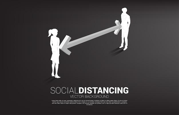 Silueta del empresario y empresaria de pie con distancia para evitar el virus. concepto de distanciamiento social y aislamiento.