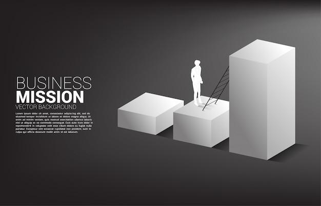 Silueta de empresario listo para subir en gráfico de barras con escalera. concepto de visión, misión y objetivo empresarial.