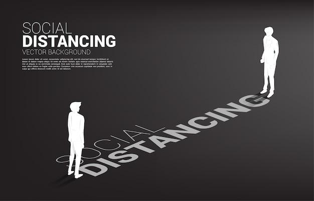 Silueta del empresario de pie con distancia para evitar virus. concepto de distanciamiento social y aislamiento.
