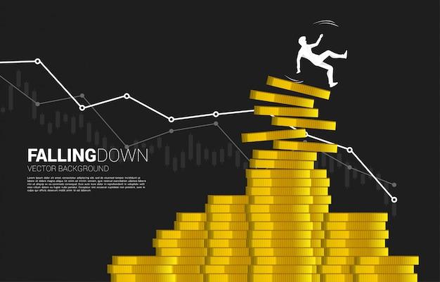 Silueta del empresario resbalón y cayendo de la pila de monedas de dinero