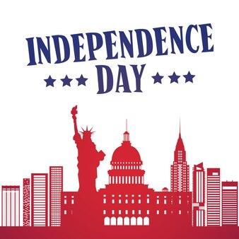 Silueta estados unidos señales día de la independencia