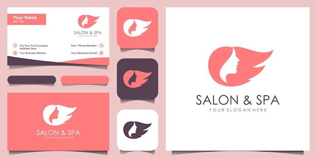 Silueta estilizada de estilo de pelo de mujer, plantilla de logotipo de salón de belleza