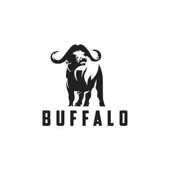 Silueta de estilo logo de búfalo