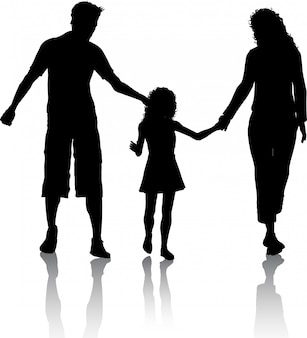 Silueta de una familia caminando
