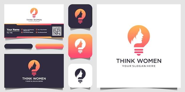 Silueta femenina en el logotipo de la lámpara de bulbo y tarjeta de visita