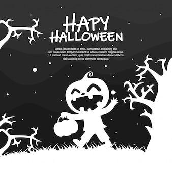 Silueta de fiesta de disfraces de niños de halloween