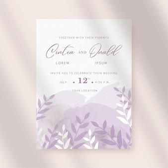Silueta floral sobre fondo de tarjeta de boda acuarela splash