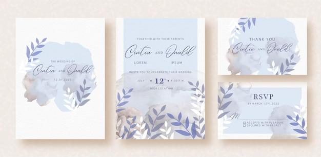 Silueta floral sobre fondo de tarjeta de boda de salpicaduras de acuarela