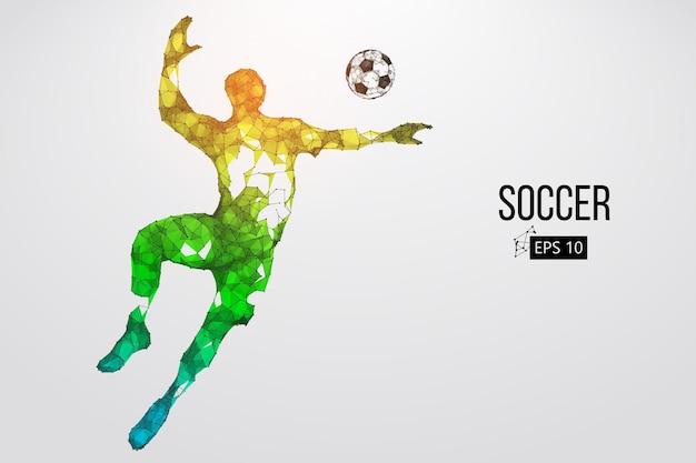 Silueta, de, un, futbolista
