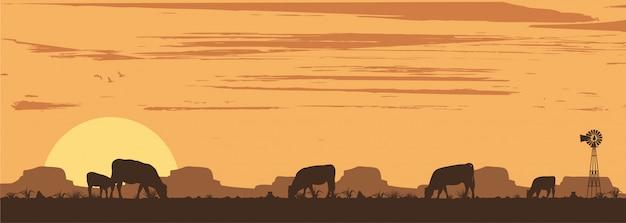 Silueta, de, ganado, en, campo, ilustración