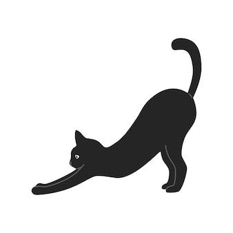 Silueta de gato negro de pelo corto se dobla, ilustración en estilo de dibujos animados, aislado sobre fondo blanco.
