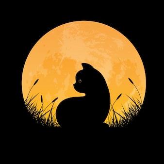 Silueta de gato sentado en el campo de hierba con fondo de luna llena