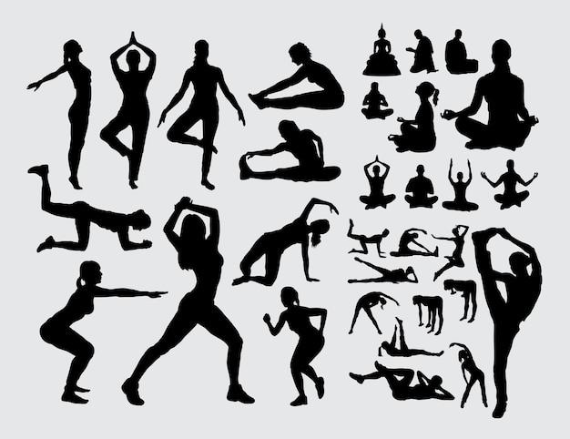 Silueta de gente aeróbica deporte y meditación