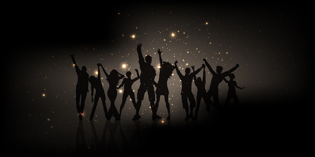 Silueta de gente de fiesta con luces brillantes