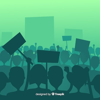 Silueta de gente en una manifestación
