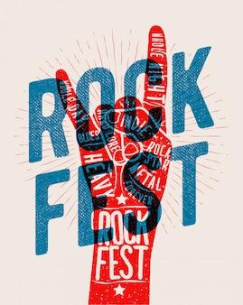 Silueta de gesto de mano de rock con el título de festival de rock. fiesta de música rock and roll en vivo o evento o concierto del concepto de cartel del festival. ilustración