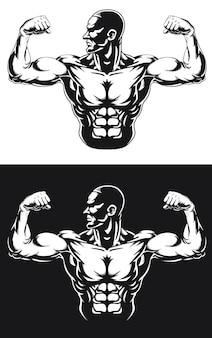 Silueta gimnasio culturista flexionando los músculos del brazo