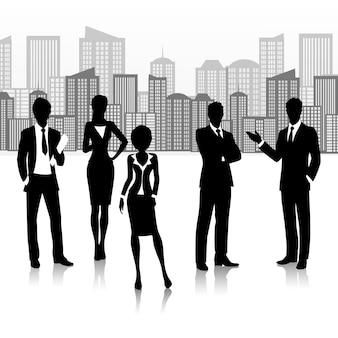 Silueta grupo de personas de negocios equipo en edificios paisaje ilustración vectorial