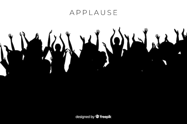 Silueta de grupo de gente aplaudiendo