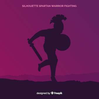 Silueta de un guerrero espartano entrenando