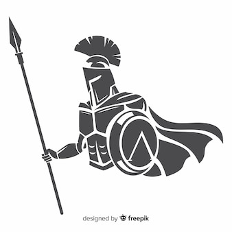 Silueta de guerrero espartano con lanza