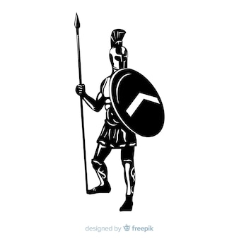 Silueta de un guerrero espartano