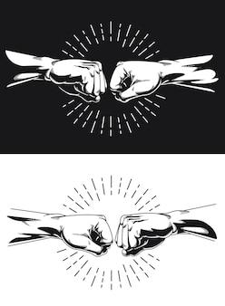 Silueta, hermano, puño, golpe, apretón de manos, nudillo