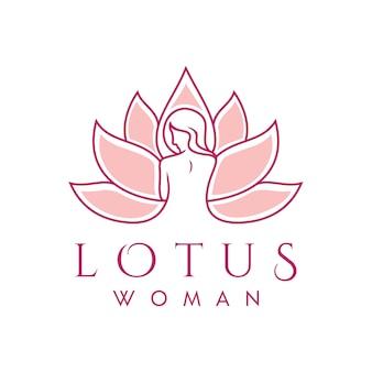 Silueta hermosa mujer lotus flower line art para spa cosmetic beauty body skin care diseño de logotipo